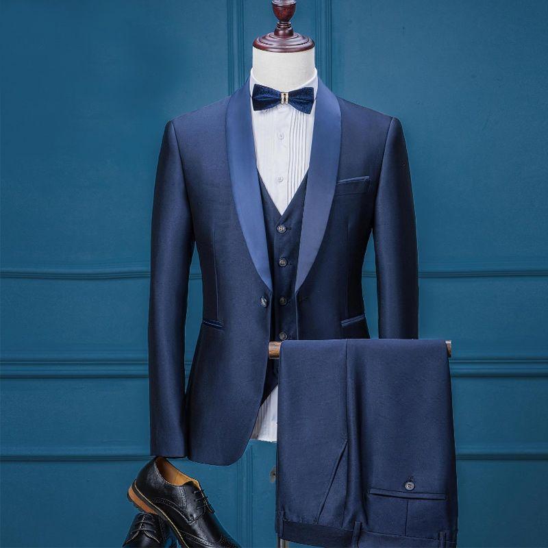 Luxury Brand Mens Suits Casual Wedding Tuxedo Blazer with pant suit men youth 3 Pieces Jacket + Vest + Pants Suit for Men