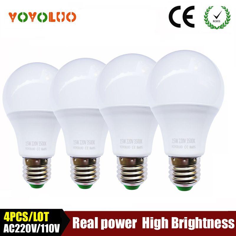 4PCS/LOT High quality led bulb e27 led lamp B22 3w 5w 7w 9w 12w 15w 110V 220V 230V Energy Saving Home Lighting aluminum cooling
