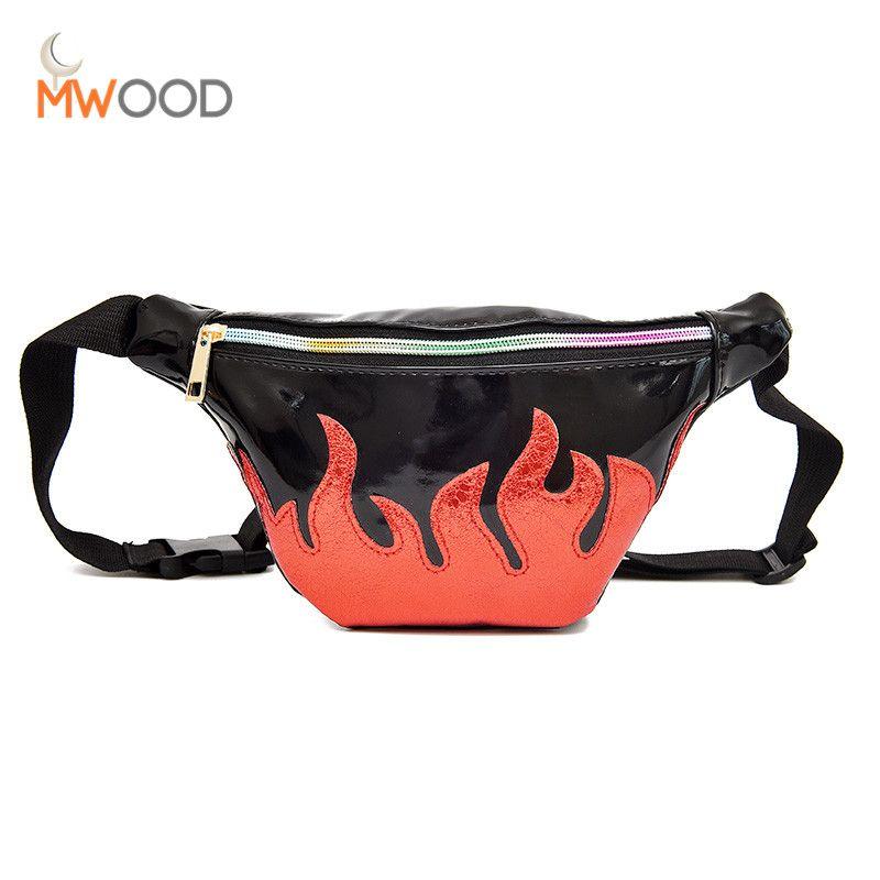 Moon Wood PU Leather Women Chest Bag Laser <font><b>Flame</b></font> Pattern Waist Pack Girl Zipper Chest Bag Women Belt Handbag Lady Shoulder Bag