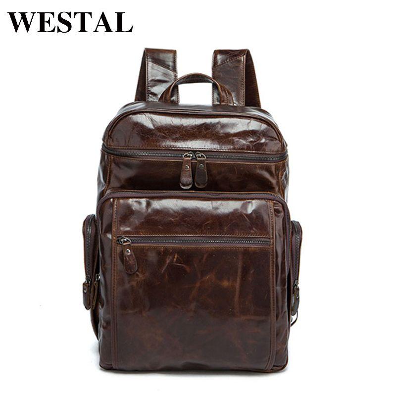 WESTAL Männer Rucksäcke 100% Echtes Leder herren Reisetasche Fashion Mann Casual Rucksack Leder Business Tasche Männliche Rucksack 8963