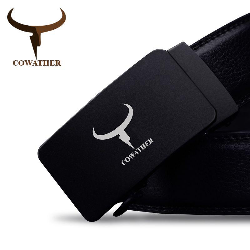 COWATHER 100% haute qualité vache véritable en cuir hommes ceintures de luxe bon automatique boucle ceinture pour hommes cinturones hombre d'origine