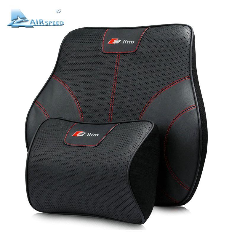 Airspeed S Line Leather Car Pillows Headrest Neck Supports Seat Lumbar Back Cushion for Audi a4 b6 b7 b8 b5 a3 a6 c5 c6 q5 a5 q7