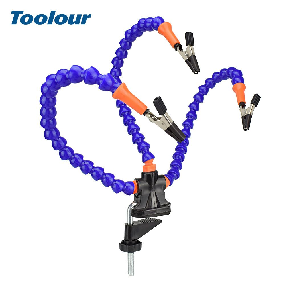 Toolour Bench Vise Table Clamp Soldering Station with 3pc Flexible Arms Soldeirng Iron Holder PCB Welding Repair Third Hand Tool