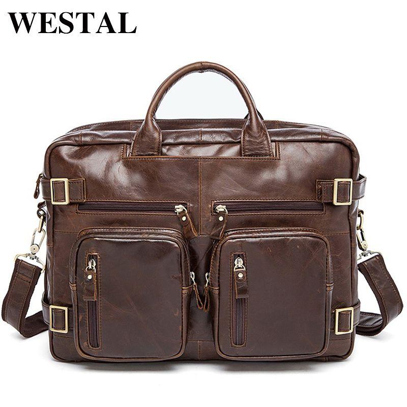 WESTAL Multifuction Men's Briefcases Laptop Bags 14 Leather Bag for Document Men Computer Messenger Bag Men Leather Briefcases