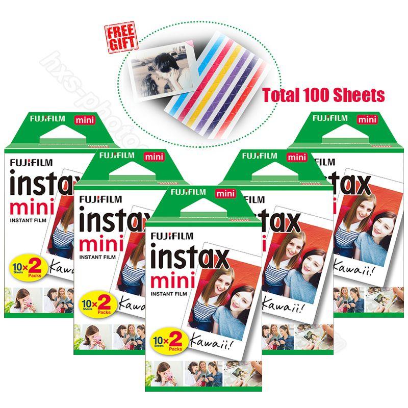 100pcs Genuine Fujifilm Instax Mini 9 Instant White Film for 9 7s 8 10 20 25 50s 50i Camera & Share Smartphone Printer SP-1 SP-2
