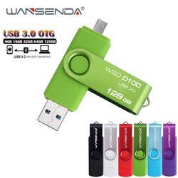 WANSENDA Высокоскоростной USB 3,0 OTG флеш-накопитель металлический USB флэш-накопитель 8 ГБ 16 ГБ 32 ГБ 64 Гб 128 ГБ Micro USB палка 3,0 флеш-накопитель
