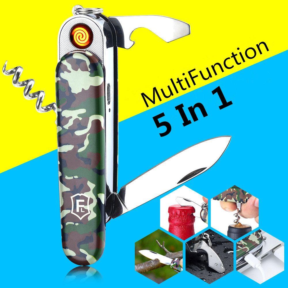 5 En 1 Multifonction USB Léger Sabre Électronique Rechargeable Briquet Turbo Cigarette Suisse Armée Couteau Camping Outil Camouflage