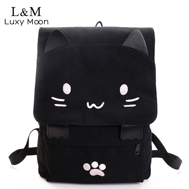Cute Cat Canvas Backpack Cartoon Embroidery Backpacks For Teenage Girls School Bag Casual Black Printing Rucksack mochilas XA69H