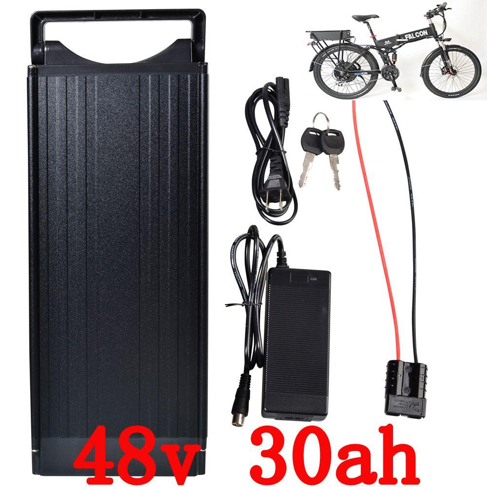 EU UNS keine steuer 1200 Watt 48 V Elektrische Fahrrad Batterie 48 V 30AH Lithium-Batterie mit Rücklicht verwenden für LG 3400 mah zelle