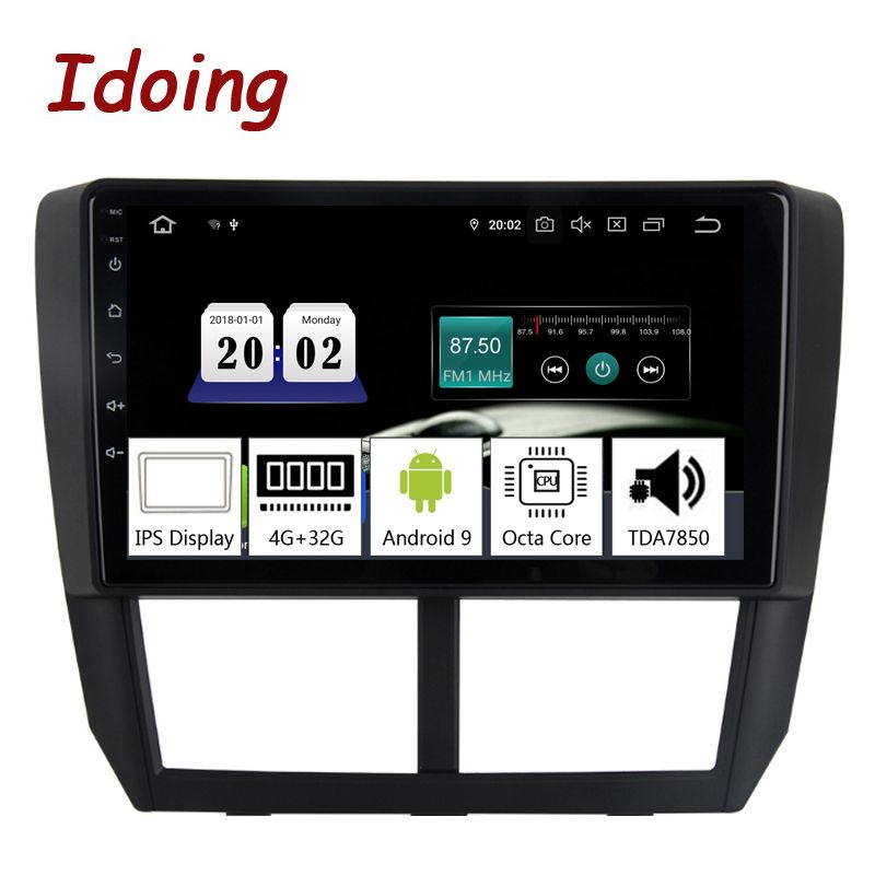Idoing 9 Auto Android9.0 Radio Multimedia Player Für Subaru Forester 2008-2012 PX5 4G + 32G 8 Core GPS Navigation 2.5D IPS TDA 7850