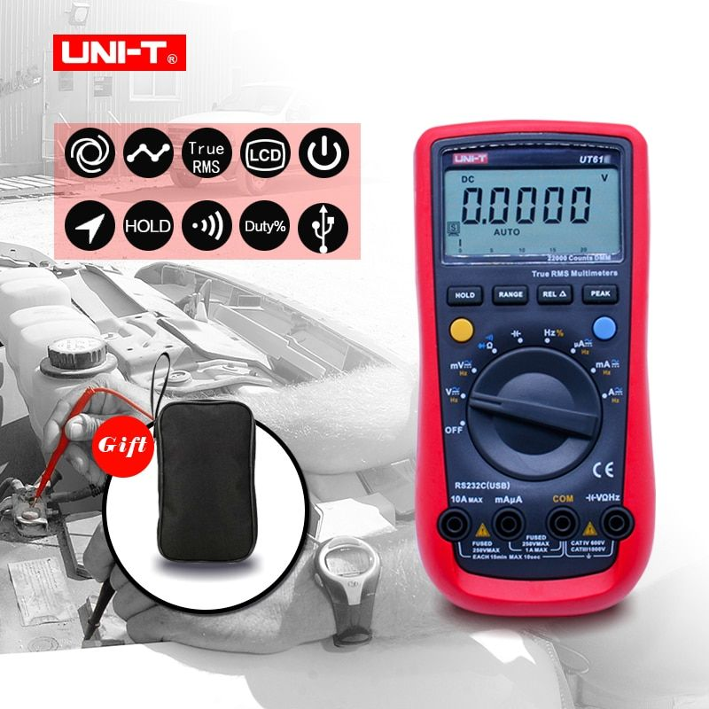 UNI-T UT61A UT61B UT61C UT61D UT61E Digital Multimeter true rms AC DC Meter Software CD & Data Hold Multitester+Gift