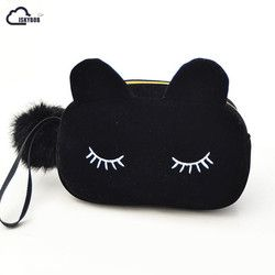 ISKYBOB Portable Cartoon Cat Coin Storage Case Travel Makeup Flannel Pouch Cosmetic Bag