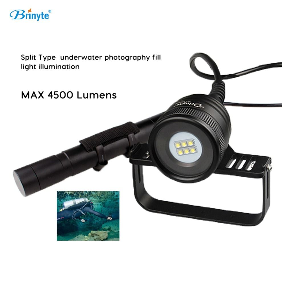 Brinyte Scuba Diving Flashlight 6*CREE XM-L2(U4) LED Professional Dive Underwater Photography Video Split Type Fill Light DIV10W
