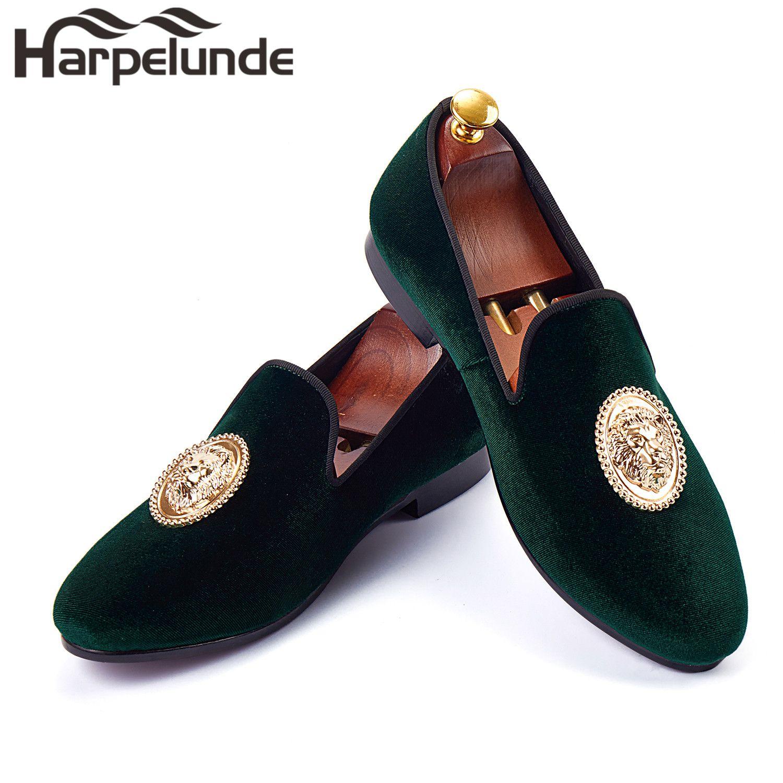 Harpelunde Animal Buckle Men Formal Shoes Green Velvet Loafer Shoes Handmade Smoking Slippers Size 6-14