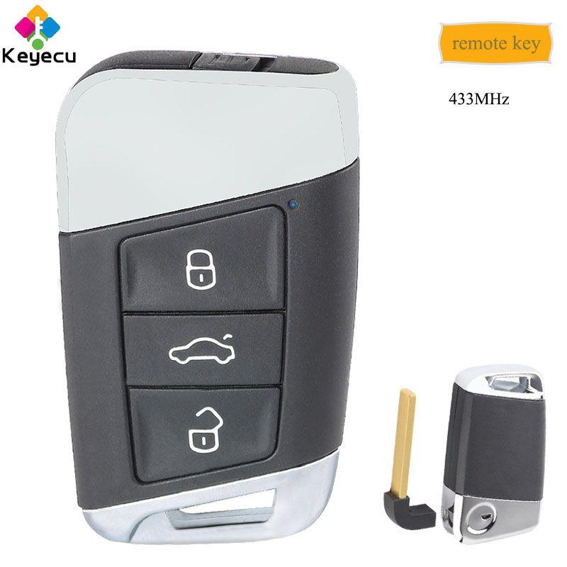 KEYECU Ersatz Smart Remote Key Mit 3 Tasten & 434 MHz-FOB für Volkswagen Magotan Superb A7 Passat B8 2015 2016 2017 2018