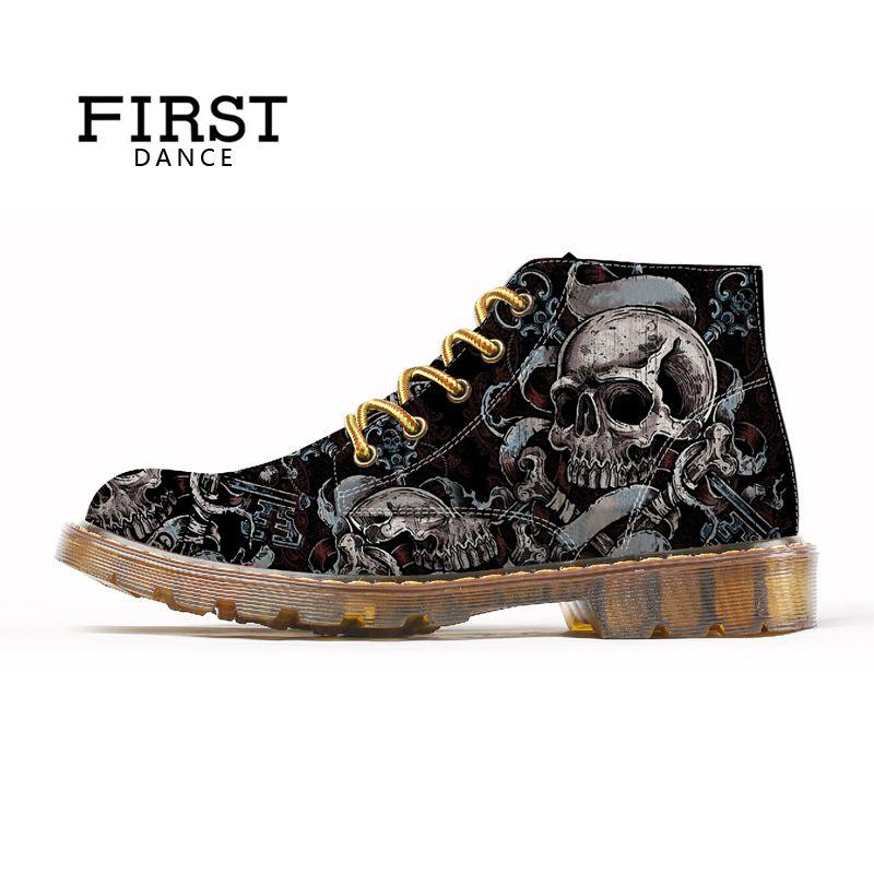 FIRST DANCE 2018 Fashion Mens Skull Shoes For Men Dr Martins Shoes Skeleton Print Black Nice Ankle Shoes Man Oxfords Spring Boot
