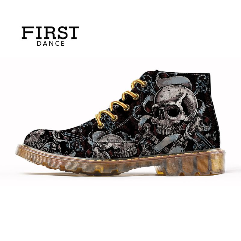 FIRST DANCE 2018 Fashion Mens Skull Shoes For Men Martins Shoes Skeleton Print Black Nice Ankle Shoes Man Oxfords Autumn Boots