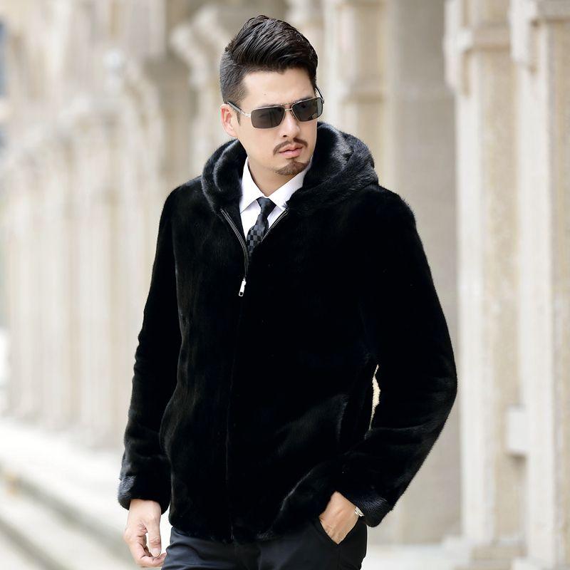 2018 new arrival men's real mink fur coat with hood plus size casual black mink fur jacket
