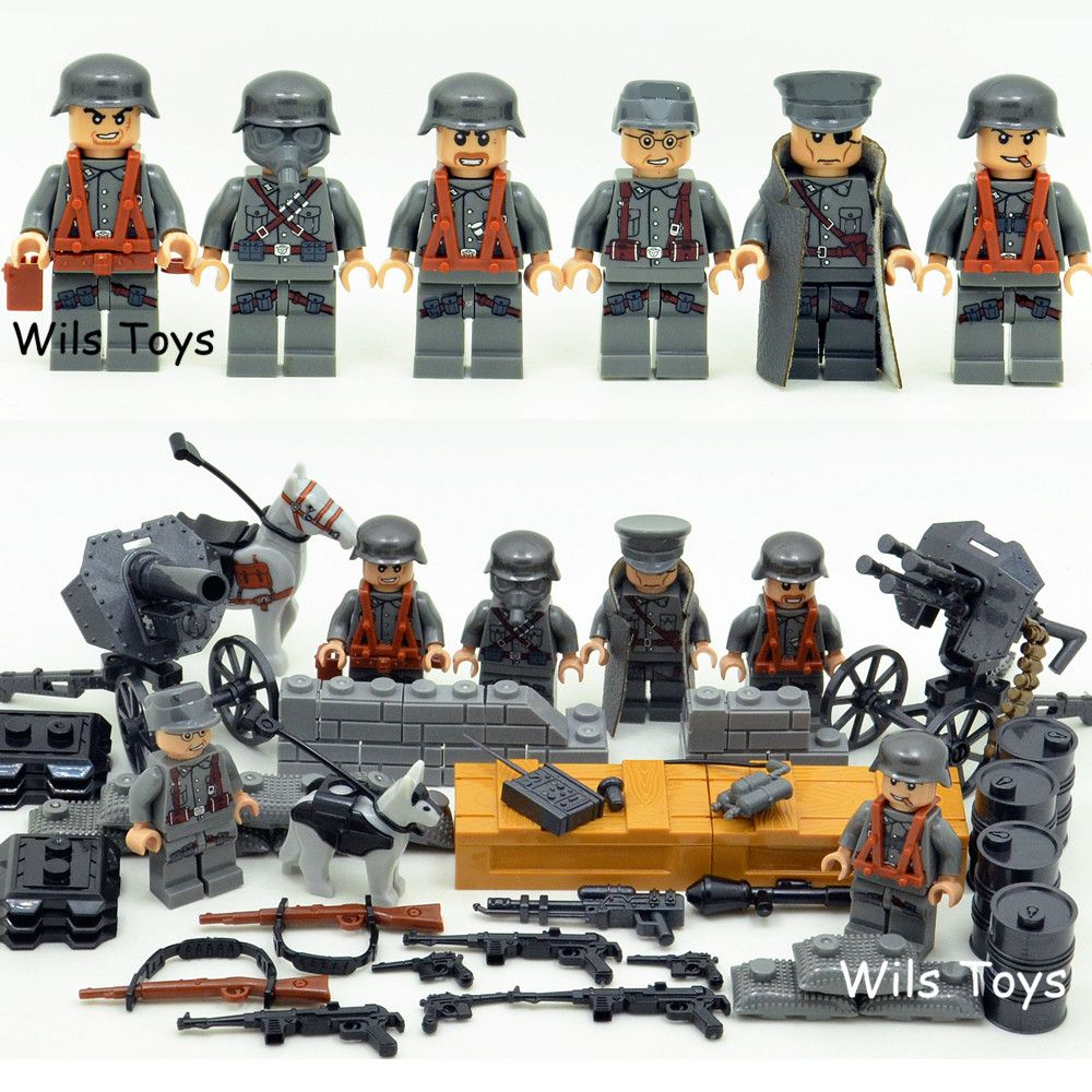 6pcs German Army MILITARY Weapons SWAT Forces Navy Seals Team Soldiers Building Blocks Bricks Figures Gifts Toys Boys Children