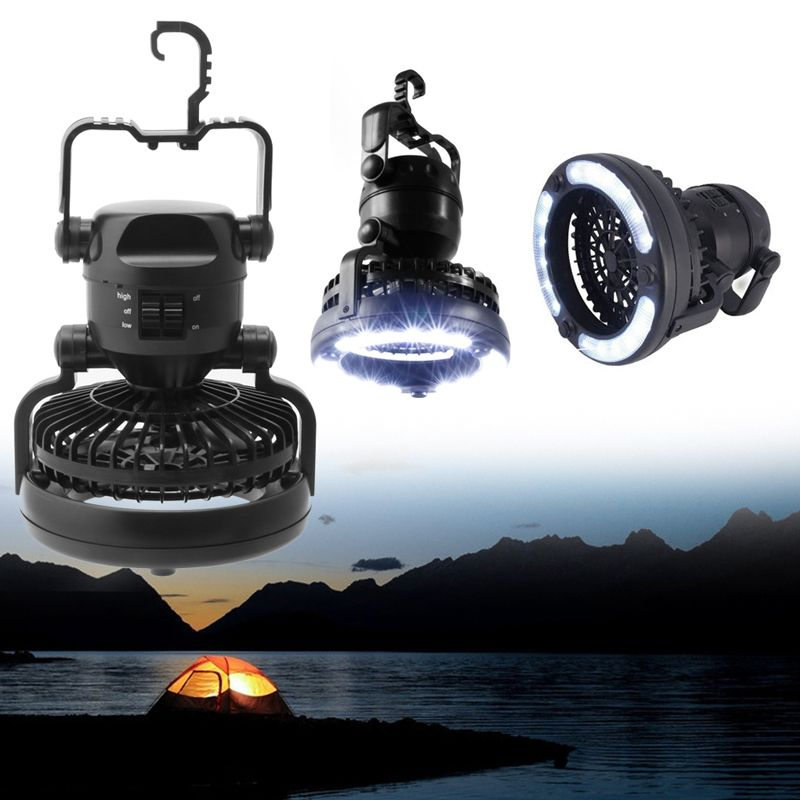2 In 1 Camping Ceiling Fan Light Hanging <font><b>Tent</b></font> Lamp Lantern Outdoor 18 LED Lamp - L057 New hot