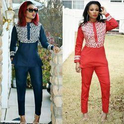 H & D 2018 mujeres africanas ropa africana tradicional pour femme bordado Diseño Vestidos azul negro señora top con pantalones