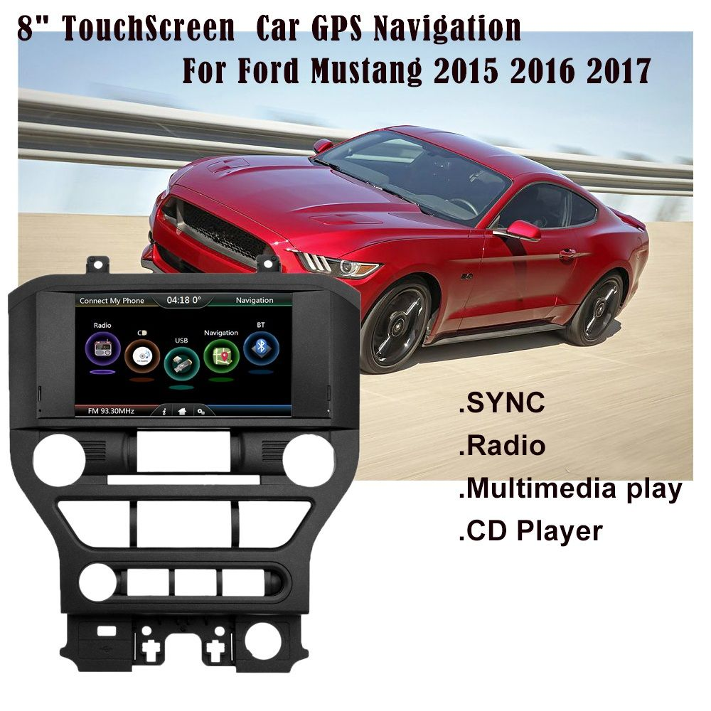 2 Din Car GPS Navigation Multimedia Play Entertainment Vehicl GPS 8 inch Screen 720P Design for Ford Mustang 2015 2016 With map