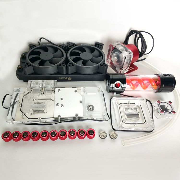 Bykski Soft Tube Suit Water Cooling Kits 240mm Copper Radiator use for CPU and GPU Block Blue Red Fitting Flexible Tube Pump Set