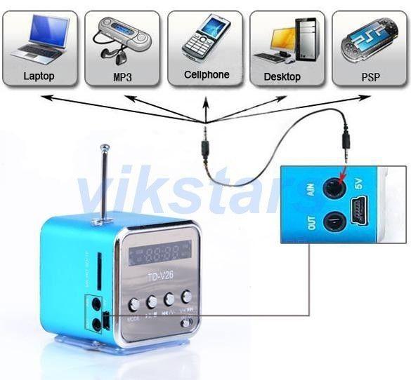Micro SD TF USB haut-parleur FM portable radio internet, lecteur de musique pc de vibration de téléphone portable, mini haut-parleur multifonction V26R