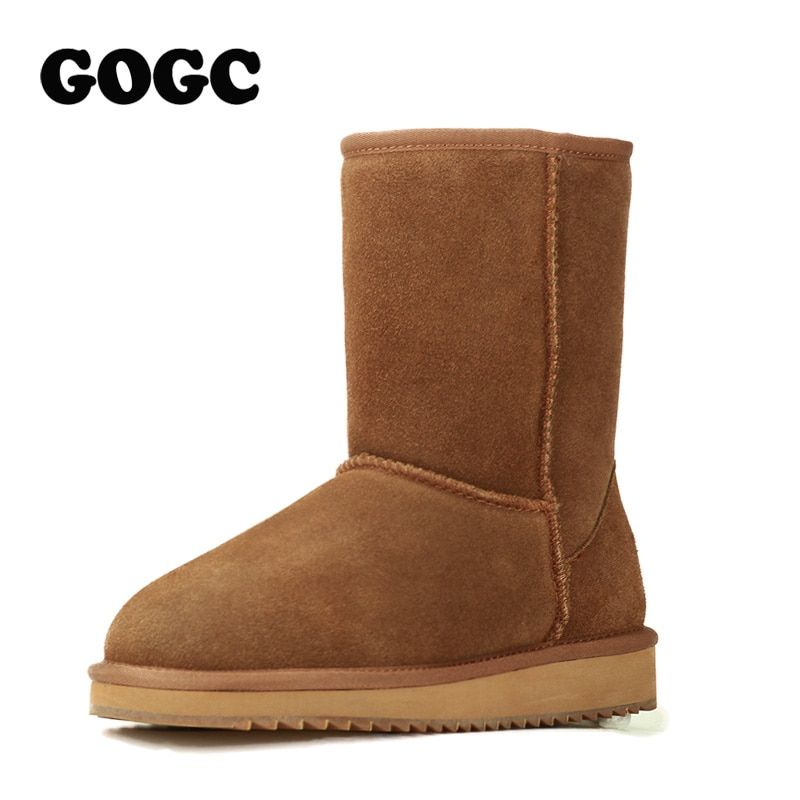 GOGC 2018 Wool Snow Boots Comfortable Women Winter Boots Winter Shoes Women Boots with Fur Genuine Leather Women Shoes Coogee