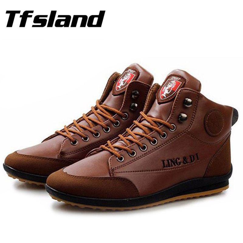 Tfsland hommes doux épissage facile-Match PU cuir chaussures de marche hommes baskets homme automne hiver bottes chaudes grande taille 39-44 taille
