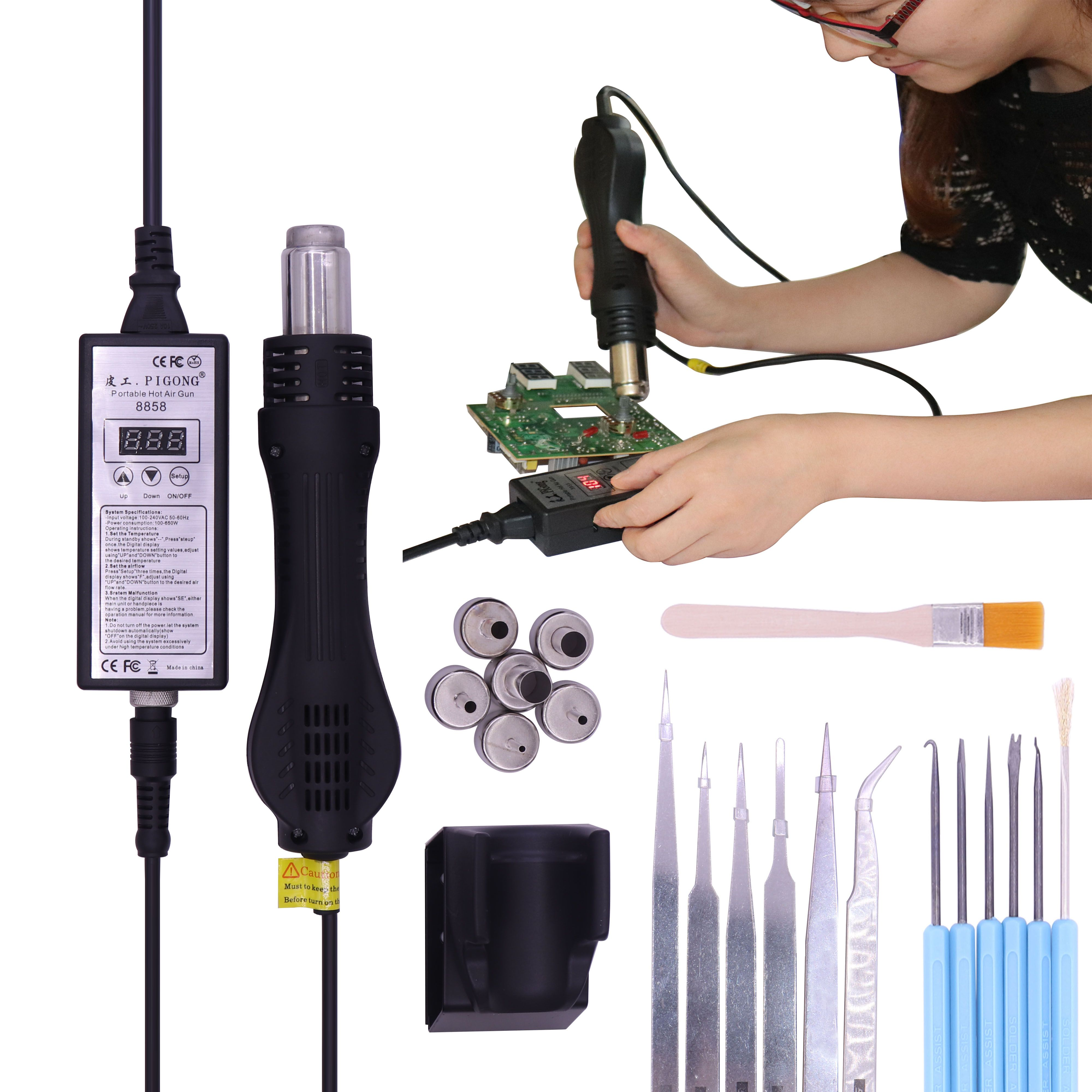 High quality 220V Portable BGA Rework soldering station Hot Air Blower Heat Gun 8858 Better Hand-held hot air gun 6pcs nozzle