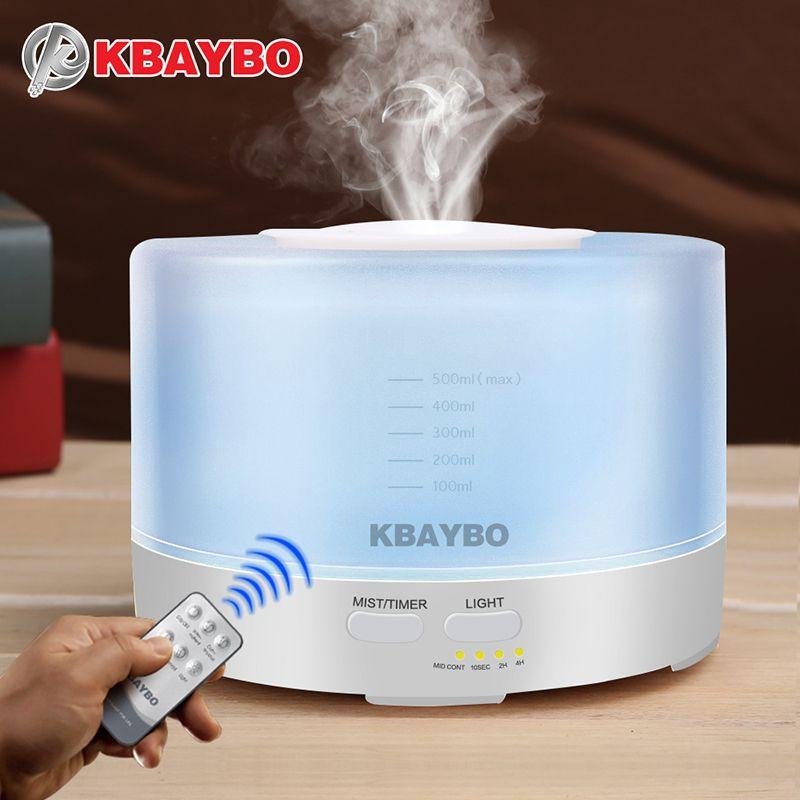 Diffuseur d'arome d'huile essentielle d'aromathérapie d'humidificateur à télécommande de 500 ml avec 7 lumières de LED de couleur
