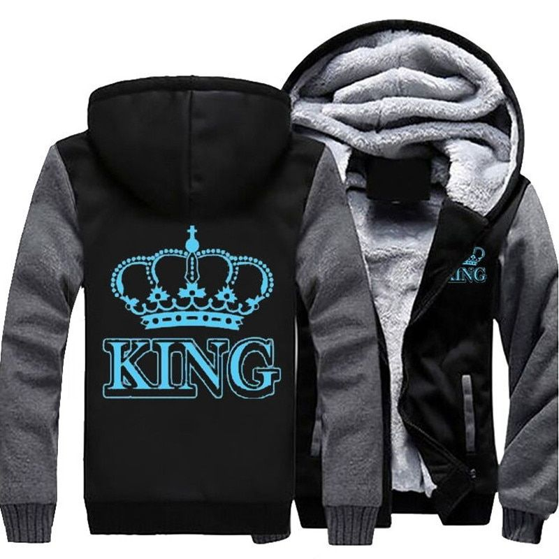 Dropshipping The QUEEN The KING Luminous Glowing Printed Winter Fleece Thicken Men's Hoodie Jacket Coat Zipper Sweatshirt Unisex