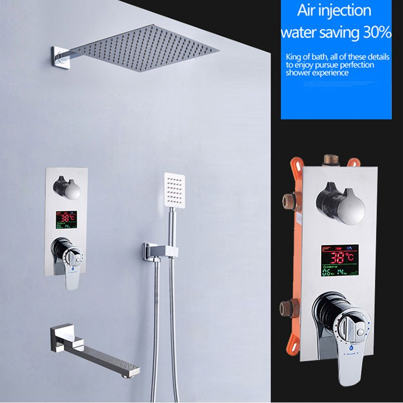 BAKALA Square Chrome Rain Shower Head Faucet Hand Shower Sprayer Mixer Bathroom Shower Faucet Set Thermostatic Shower Faucet