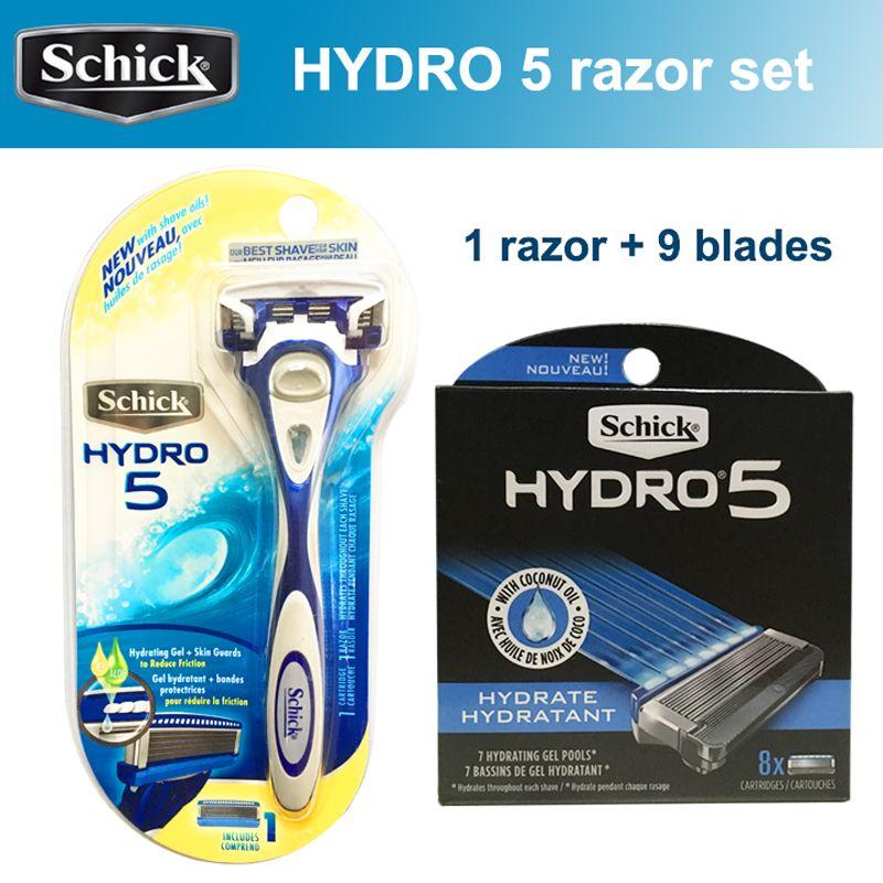 2019 nouveau Original véritable Schick Hydro 5 lames de rasoir ensemble (9 lames + 1 rasoir) meilleur manuel rasage rasoir ensemble pour homme
