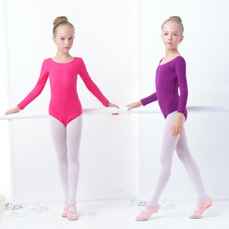 Girls Ballet Leotardo Danza Ropa Encantadora Niños Gimnasia Leotardo Desgaste de la Danza Del Niño de Manga Larga Con Encaje Entrepierna