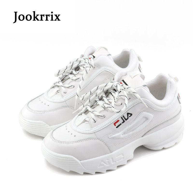 Jookrrix New Spring Fashion Lady Casual White Shoes Women Sneaker Black Leisure Thick Soled Shoes Flats Cross-tied Lace Up Soft