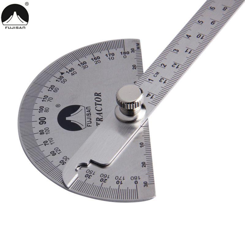 FUJISAN 0-180 degrés règle d'angle en acier inoxydable tête ronde rapporteur rotatif 145mm réglable Angle trouveur outils de mesure