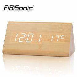FiBiSonic Kayu Kayu Digital LED Jam Alarm, Kontrol suara Desktop Jam dengan Suhu, Layar Elektronik Rumah Decor