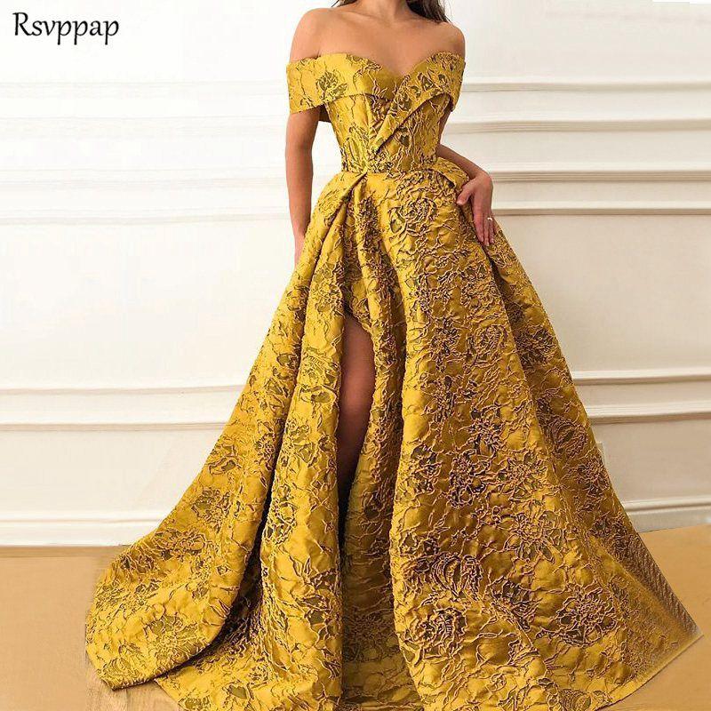 Lange Abendkleider Elegante Kappe Hülse Hohe Qualität V-ausschnitt Sexy High Slit Saudi-arabien Gold Formalen Kleid