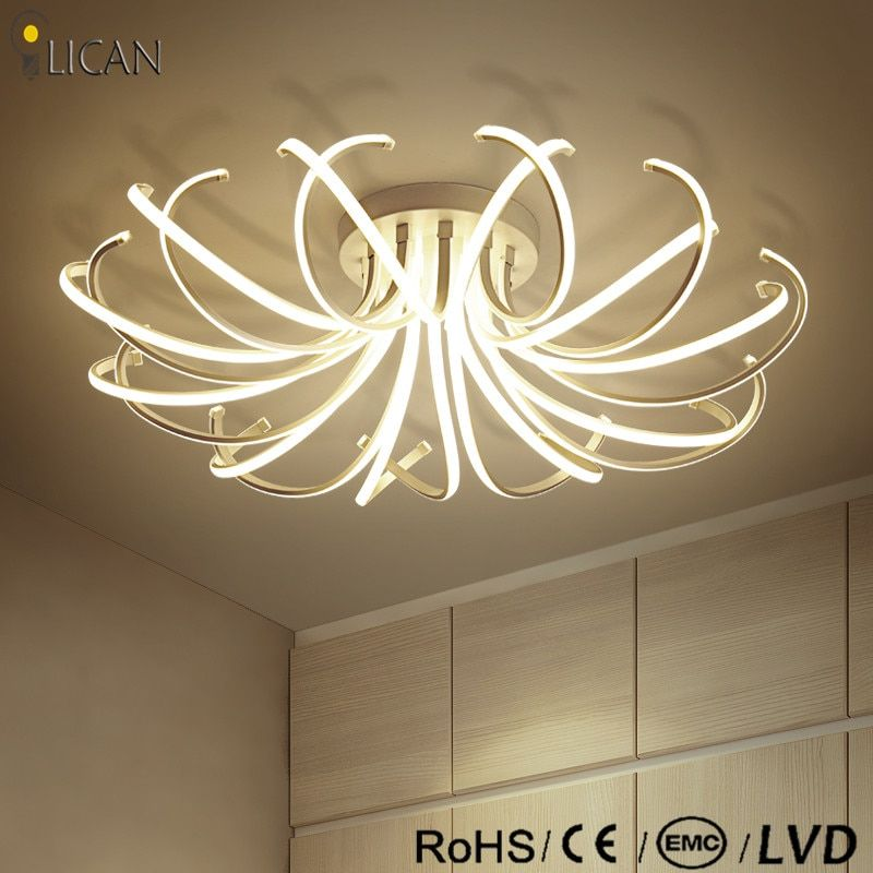 LICAN 2017 Ceiling Chandeliers led Modern flower shape Dimming light fixtures for living room Bedroom White Chandelier Lightings