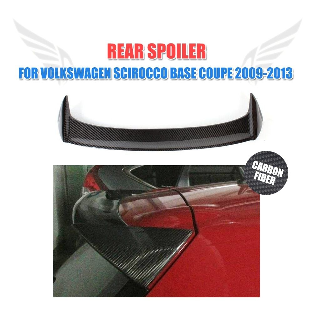 Carbon Fiber Rear Roof Spoiler Lip Trunk Trim Sticker Custom Wings For Volkswagen VW Scirocco Coupe 09-13 O Style FRP Unpainted