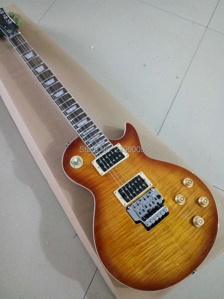 Custom Shop LP standard electric guitar with double lock tremolo system bridge tiger striped maple cover details on show