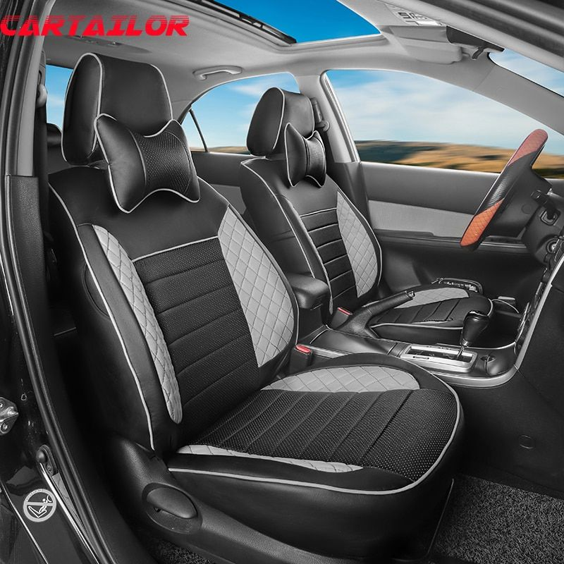 CARTAILOR Custom Fit Seat Covers & Supports for Toyota Verso 2011 2013 Car Seat Cover PU Leather Auto Interior Accessories Set