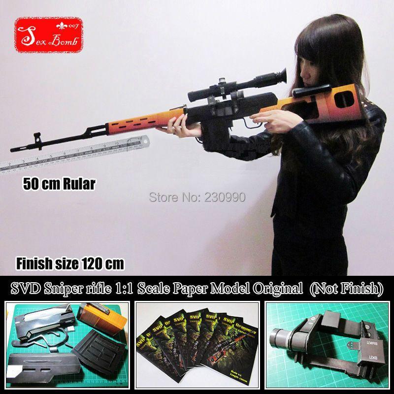 Original Escalado SVD Dragunov Rifle de Francotirador modelos de Papel 3D DIY montado alta simulación Pistola pistolas de Armas modelo juguetes 120 cm
