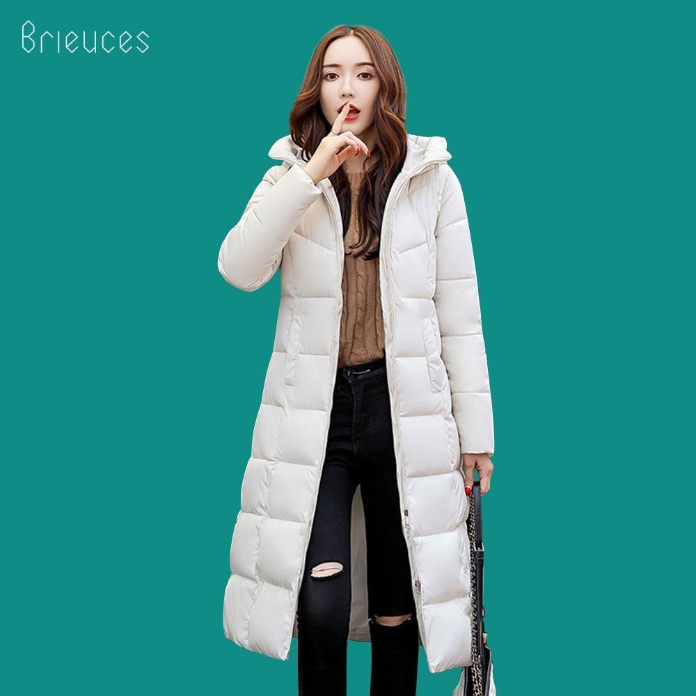 Beieuces 2019 chaud hiver veste femmes à capuche grande taille épaissir long Parkas vêtement extérieur pain lâche Style chaud hiver manteau femmes