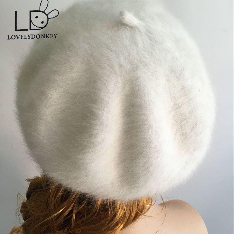 LOVELYDONKEYwomen peluche vison cachemire béret dames à tricoter à la main chapeaux hiver chaud tricot casquette livraison gratuite M257