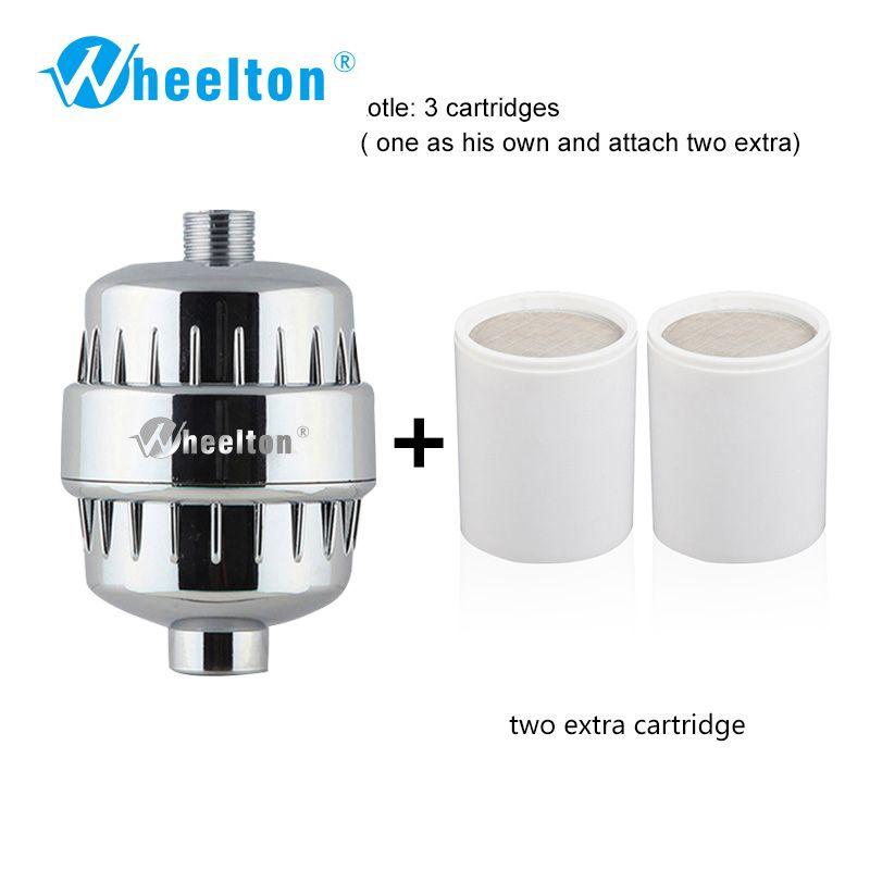 Filtre à eau Wheelton purificateur KDF + sulfite de Calcium douche adoucisseur de bain élimination du chlore attacher 2 filtres supplémentaires