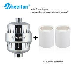 Wheelton Filtre À Eau Purificateur KDF + Calcium sulfite Douche Baignade Adoucisseur Élimination Du Chlore Joindre 2 supplémentaire filtres