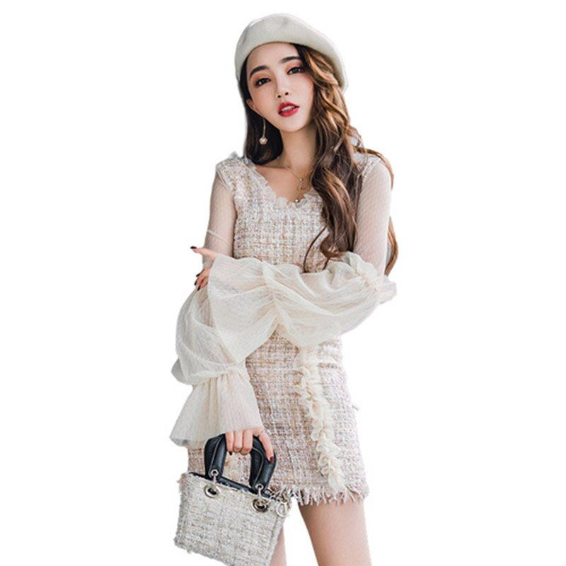 Spring and Autumn V neck lace blouse puff sleeve shirt and lace woolen half mini skirt two piece suit